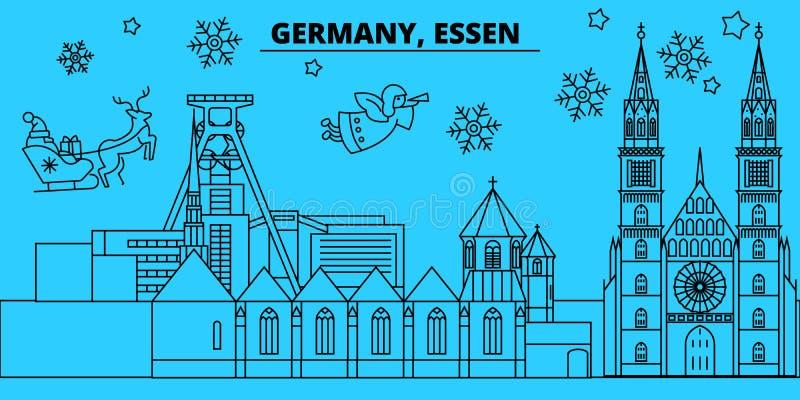 Tyskland horisont för Essen vinterferier Glad jul, det lyckliga nya året dekorerade banret med Santa Claus Tyskland Essen royaltyfri illustrationer