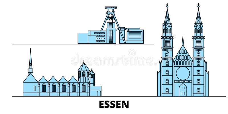 Tyskland illustration för Essen plan gränsmärkevektor Tyskland Essen linje stad med berömda loppsikt, horisont, design vektor illustrationer