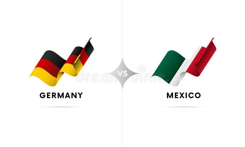 Tyskland kontra Mexico Fotboll också vektor för coreldrawillustration stock illustrationer