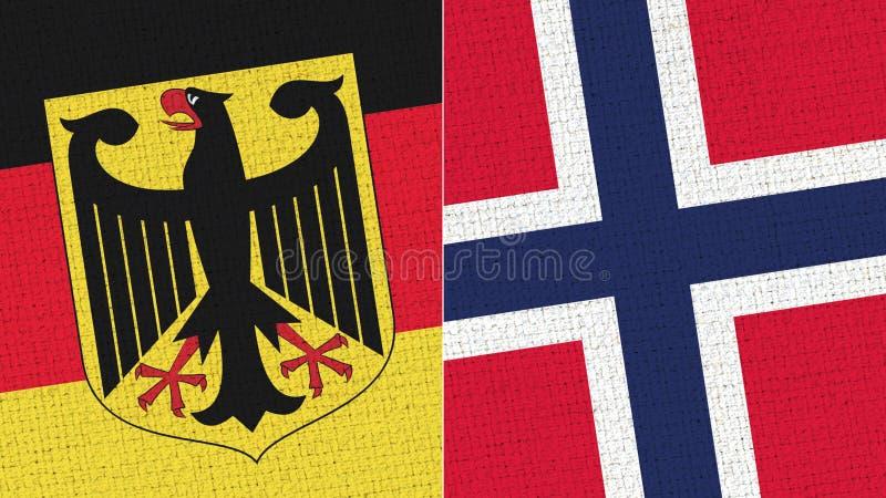 Tyskland och Norge flagga - tygtextur arkivfoto