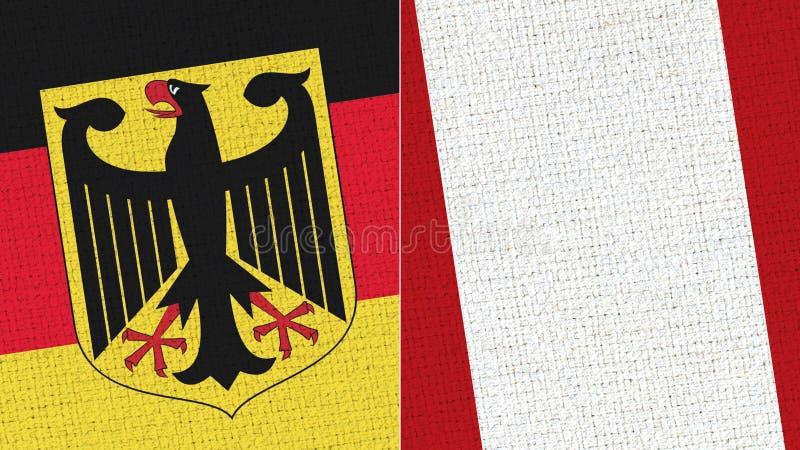 Tyskland och Peru Flag - tygtextur fotografering för bildbyråer