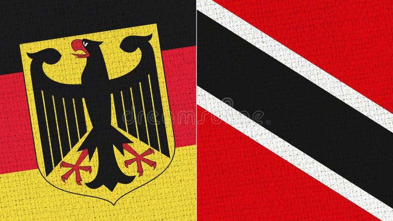 Tyskland och Trinidad Tobago Flag - tygtextur arkivfoton
