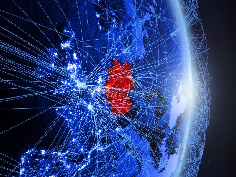 Tyskland på blå blå digital jord vektor illustrationer
