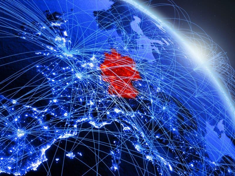 Tyskland på det blåa blåa digitala jordklotet vektor illustrationer