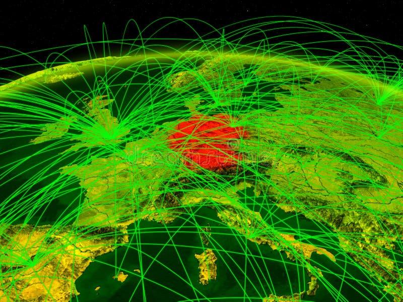 Tyskland på digital planetjord med det internationella nätverket som föreställer kommunikation, lopp och anslutningar illustratio vektor illustrationer