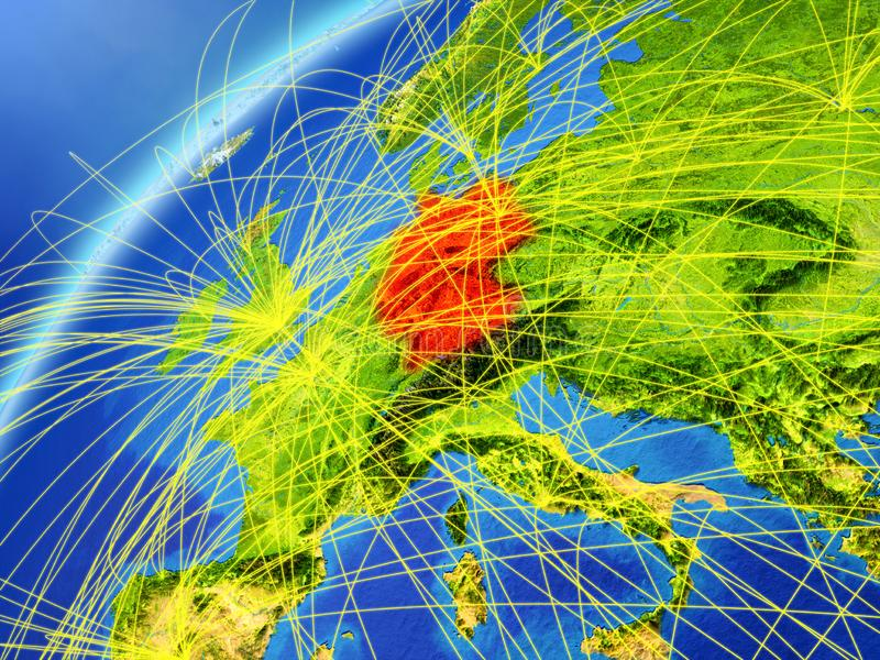 Tyskland på jord med nätverket stock illustrationer