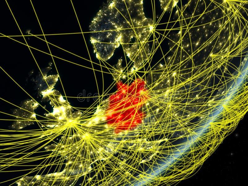 Tyskland på mörk jord med nätverket vektor illustrationer