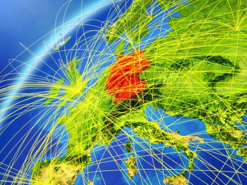 Tyskland på modell av planetjord med internationella nätverk Begrepp av den digitala kommunikationen och teknologi illustration 3 stock illustrationer