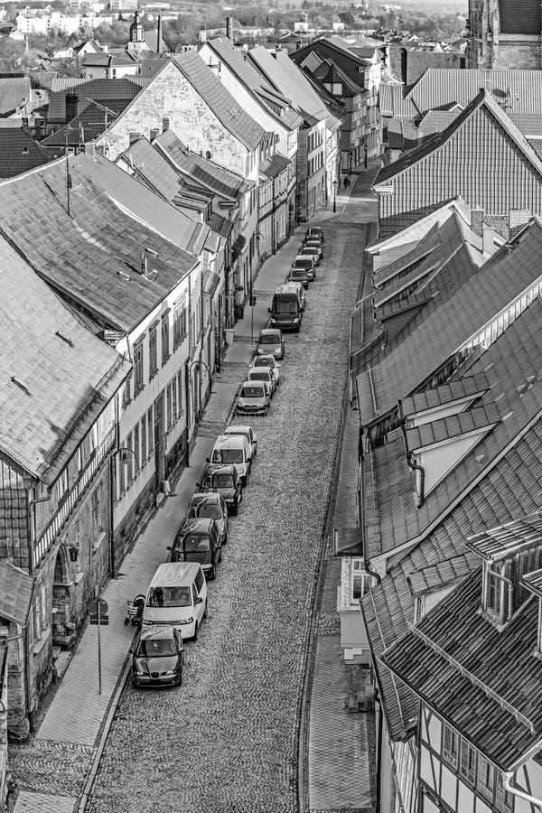 Tyskland Th?ringen, Muhlhausen, cityview royaltyfri bild