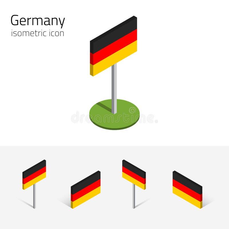 Tysklandflagga, vektoruppsättning av isometriska symboler 3D royaltyfri illustrationer