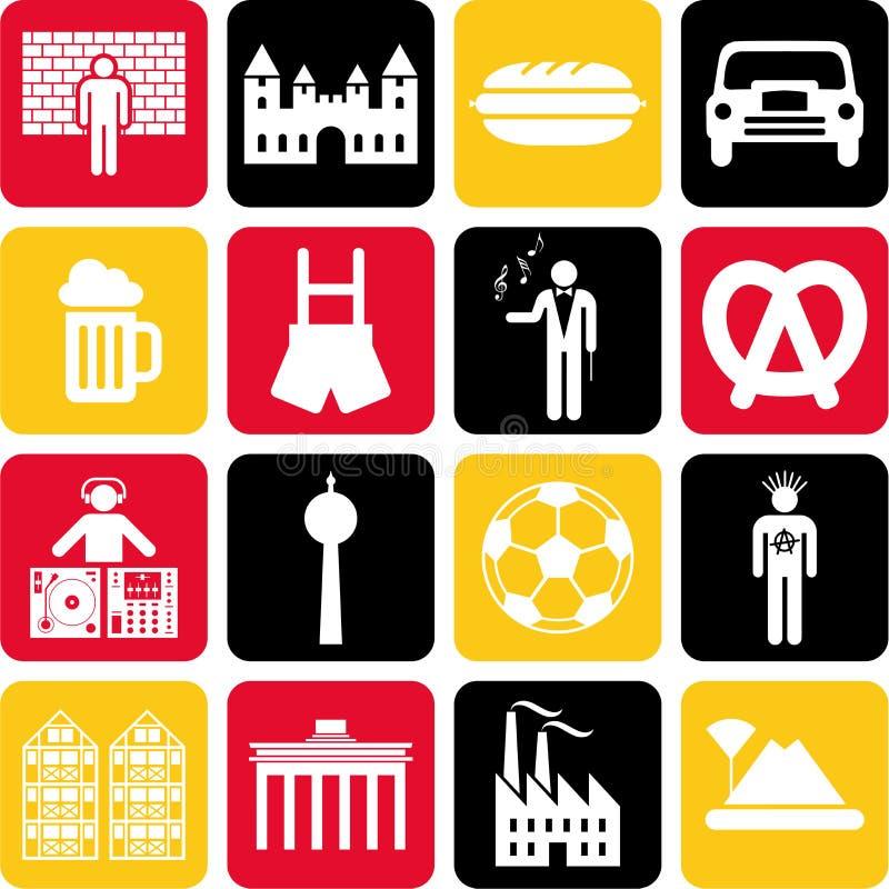 Tysklandsymboler royaltyfri illustrationer