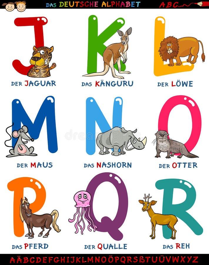 Tyskt alfabet för tecknad film med djur royaltyfri illustrationer