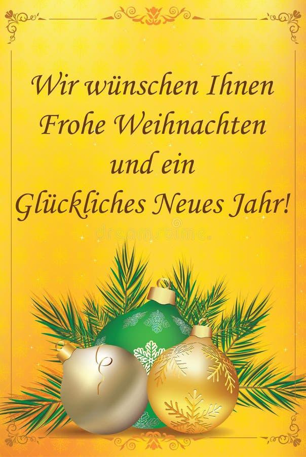 Tyskt hälsa kort med den klassiska designen - glad jul och lyckligt nytt år vektor illustrationer