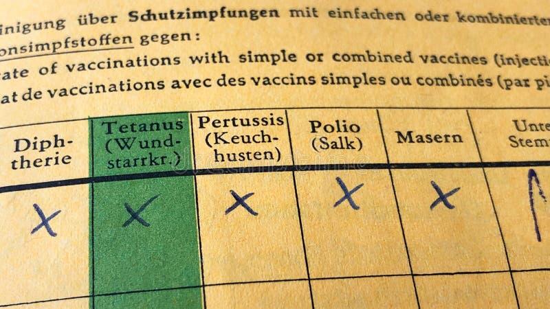 Tyskt internationellt certifikat av vaccineringen arkivbild