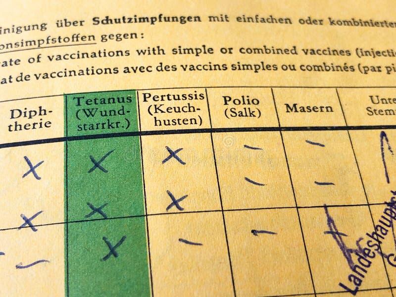 Tyskt internationellt certifikat av vaccineringen arkivbilder