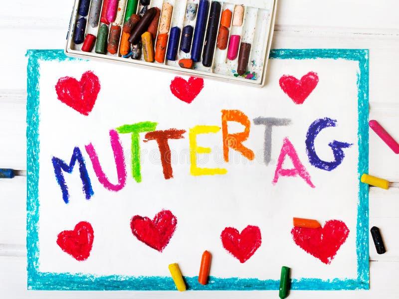 Tyskt kort för dag för moder` s med ` för dag för ` s för ord`-moder, vektor illustrationer