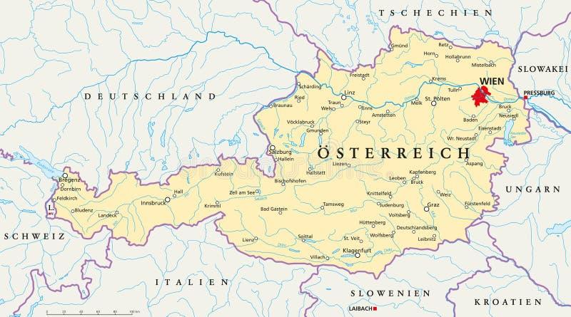 Tyskt märka Österrike för politisk översikt vektor illustrationer