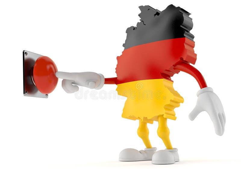 Tyskt tecken som skjuter en knapp stock illustrationer