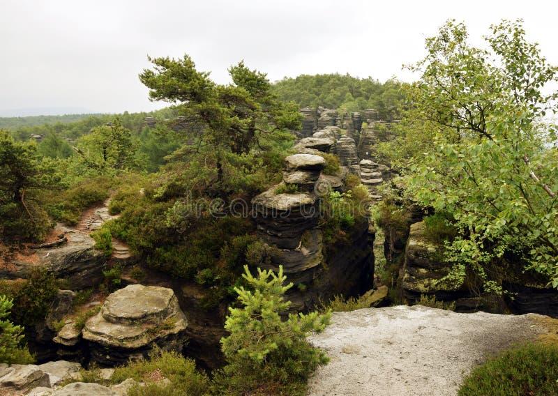 Tyssa Walls - Rocks Landscape - Tiské stěny. Tyssa Walls are a well-known group of rocks in the western Bohemian Switzerland not far from its stock images