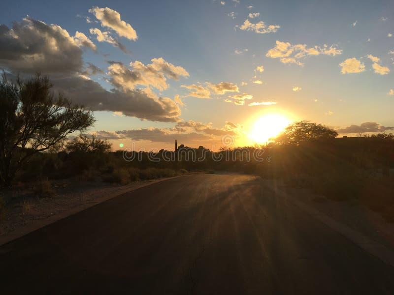 Tyst ökenvägsolnedgång, Arizona arkivfoton