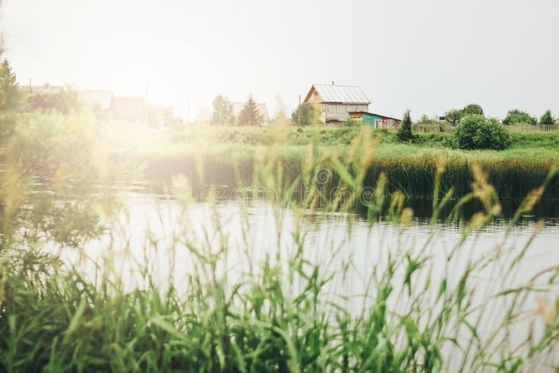 Tyst flod, grön gräs- kust och bakgrund för ryssbybygd arkivbilder