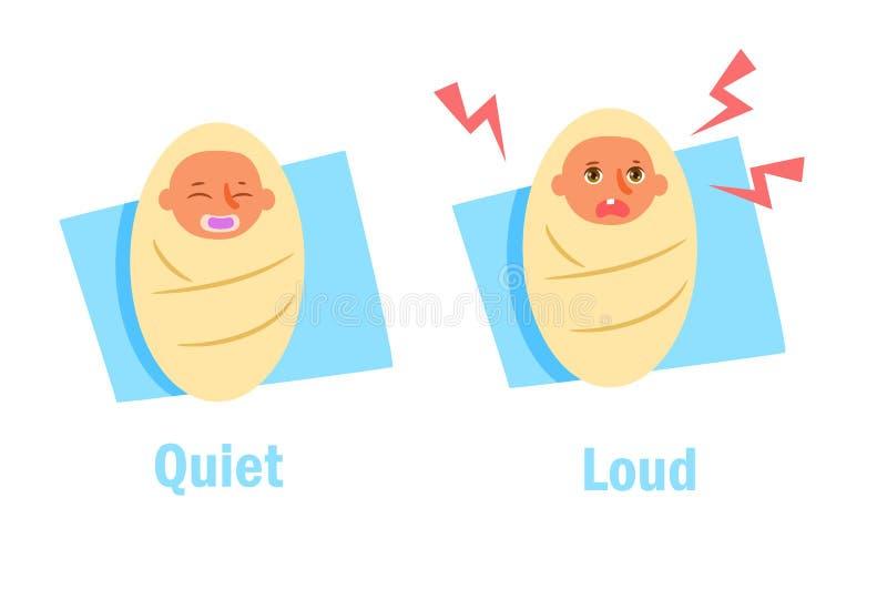 Tyst högt mitt emot antonymer vektor illustrationer