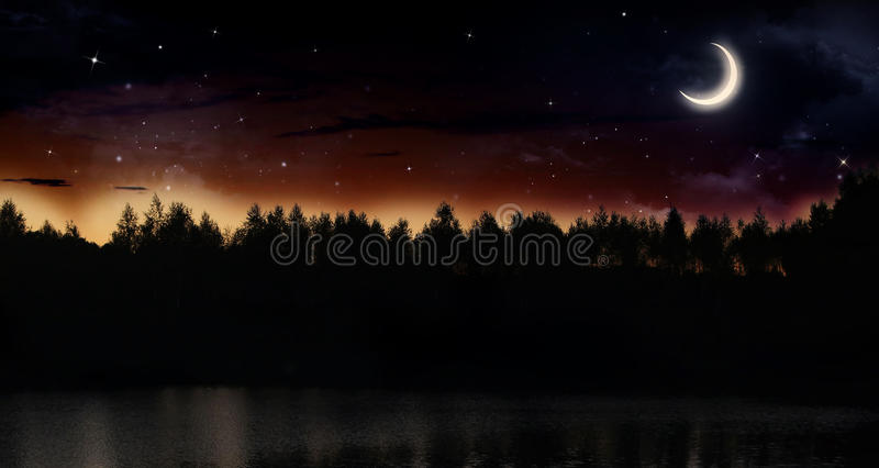 Tyst sommarnatt vektor illustrationer