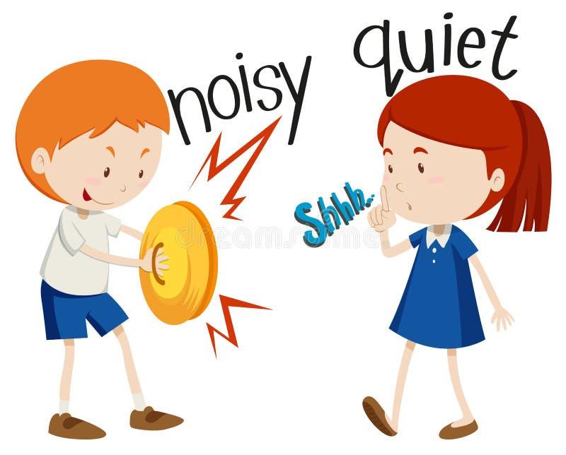 Tysta motsatta adjektiv som är bullriga och vektor illustrationer