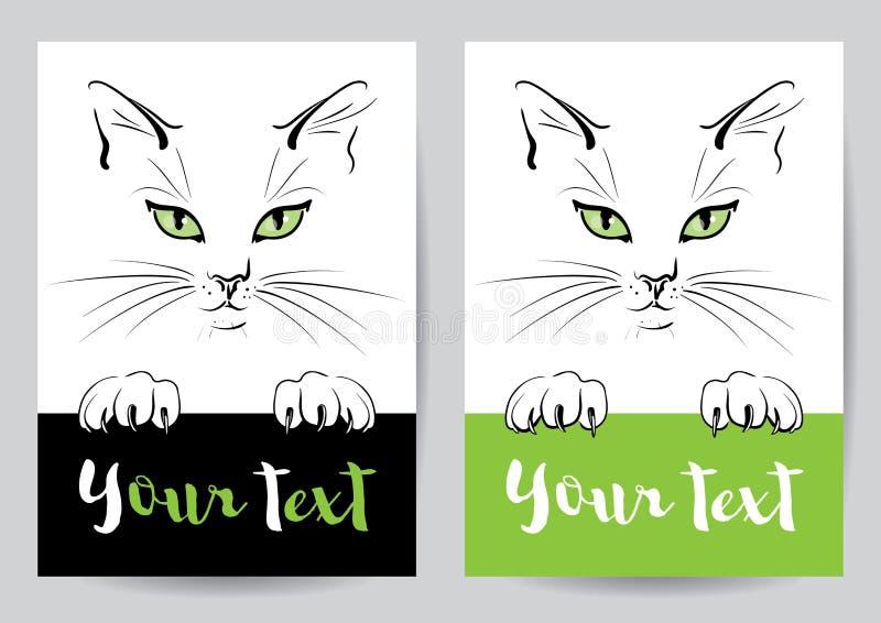 Tysta ned och tafsa av en katt med bunner stock illustrationer