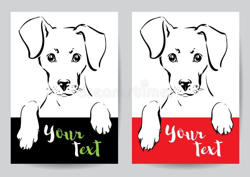 Tysta ned och tafsar av en hund royaltyfri illustrationer