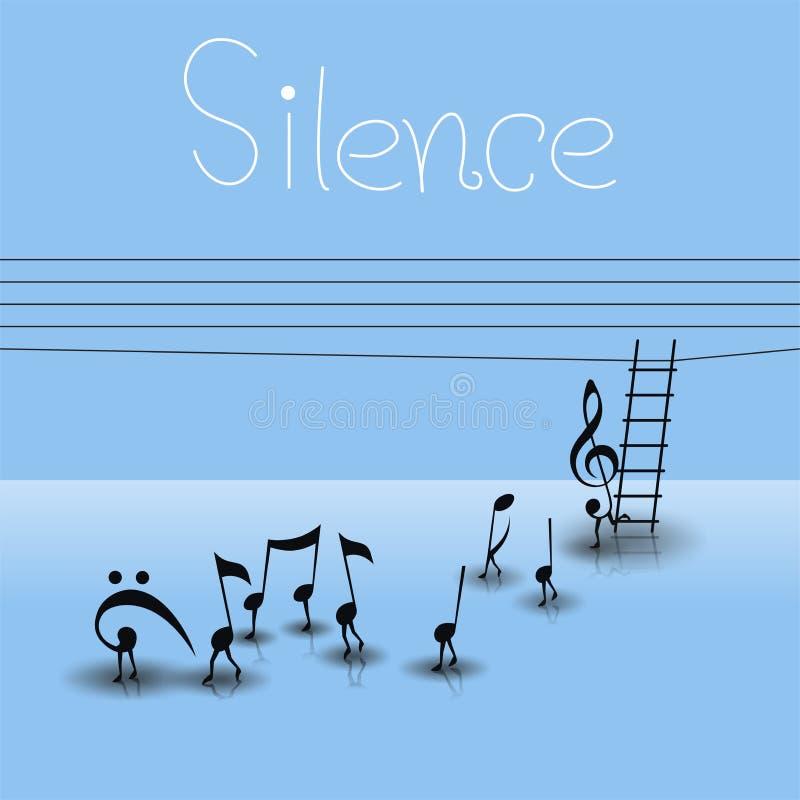 Tystnad stock illustrationer
