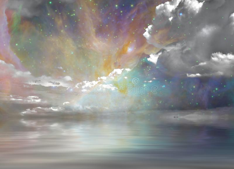 Tystnadvatten och stjärnklar himmel stock illustrationer