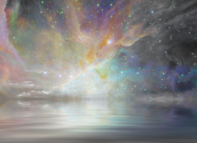 Tystnadvatten och stjärnklart stock illustrationer