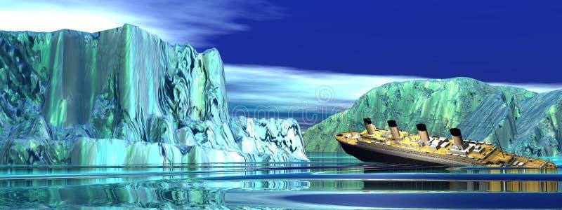 tytaniczny łódkowaty słabnięcie ilustracja wektor