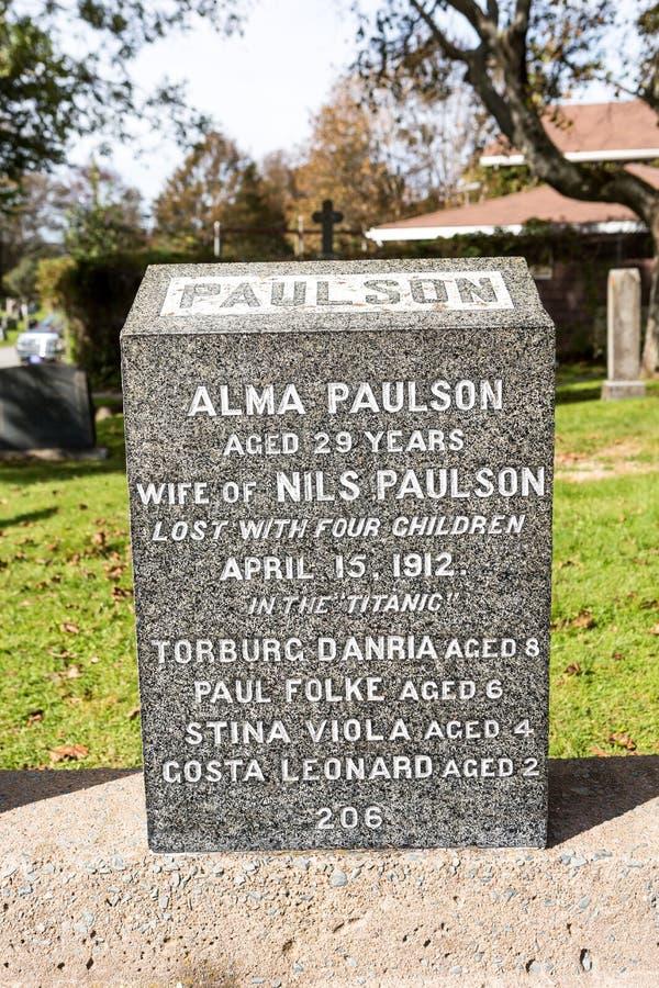 Tytaniczny cmentarz Miejsce w mieście Halifax w Kanada dokąd t fotografia royalty free