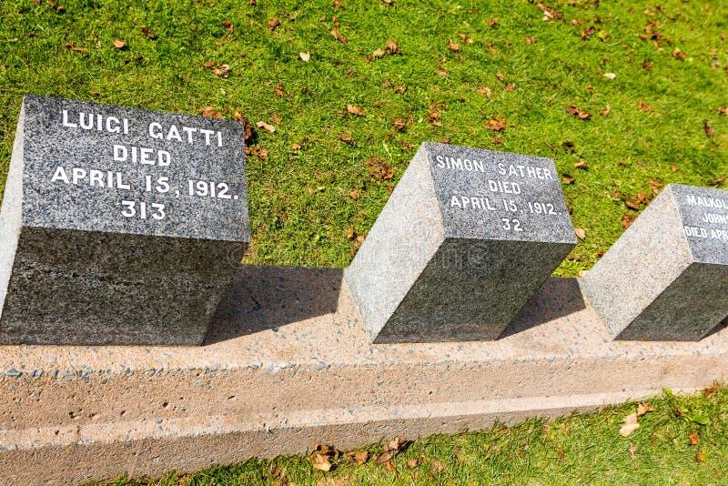 Tytaniczny cmentarz Miejsce w mieście Halifax w Kanada dokąd t obraz royalty free
