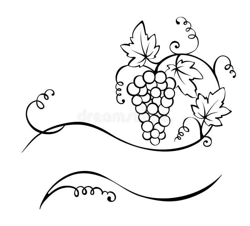 Tytuł - winograd ilustracja wektor