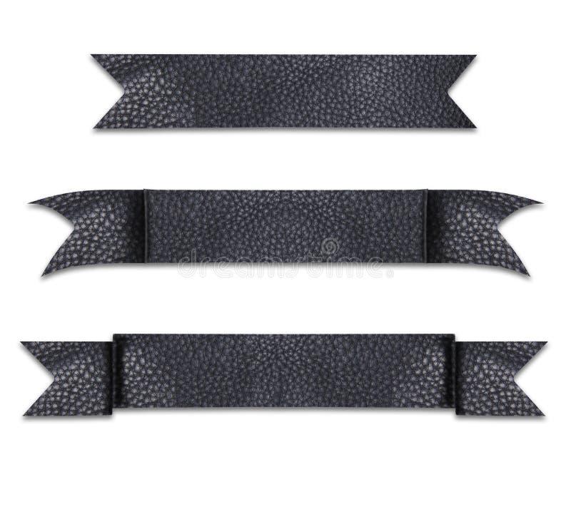 Tytułowy faborek robić od luksusowego rzemiennego przedstawienia textured ciemnego kolor fotografia stock