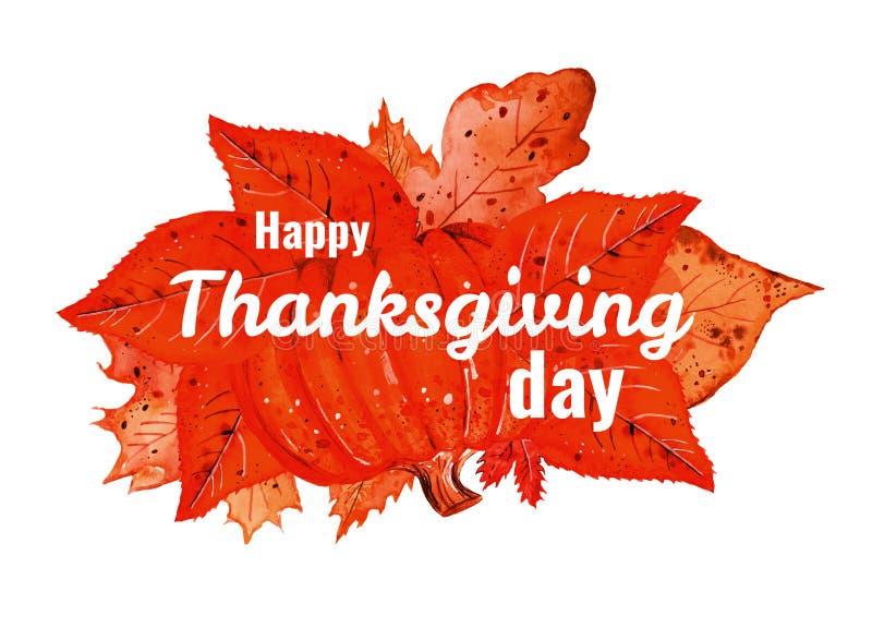 Tytułowy projekta szablon dla dziękczynienie dnia z pomarańczowymi jesień liśćmi, banią i Ręka rysujący akwarela stylizujący nakr ilustracji
