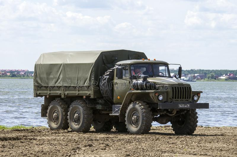 Tyumen, Ρωσία 29 Ιουνίου 2019: όλος-ρωσικοί αγώνες στρατού Ural-4320 στρατιωτικό φορτηγό στοκ εικόνες