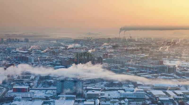 Tyumen in de winter, hoogste mening royalty-vrije stock fotografie