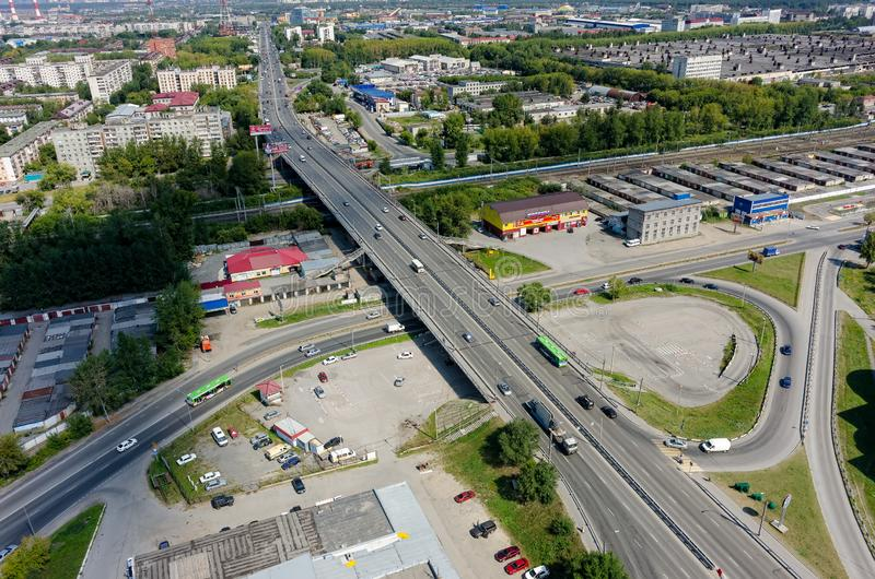 Aerial view on Permyakova street. Tyumen. Russia royalty free stock image