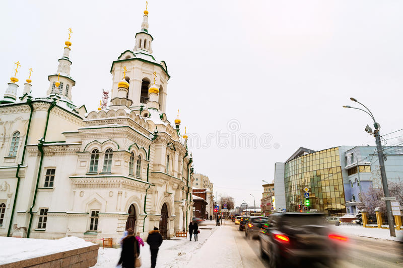 Tyumen, Russia. City center of siberian town in winter royalty free stock photography