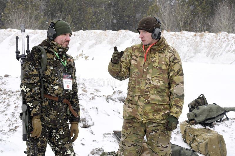 Tyumen, Russie, le 15 mars 2019, concurrence des tireurs isolés image libre de droits