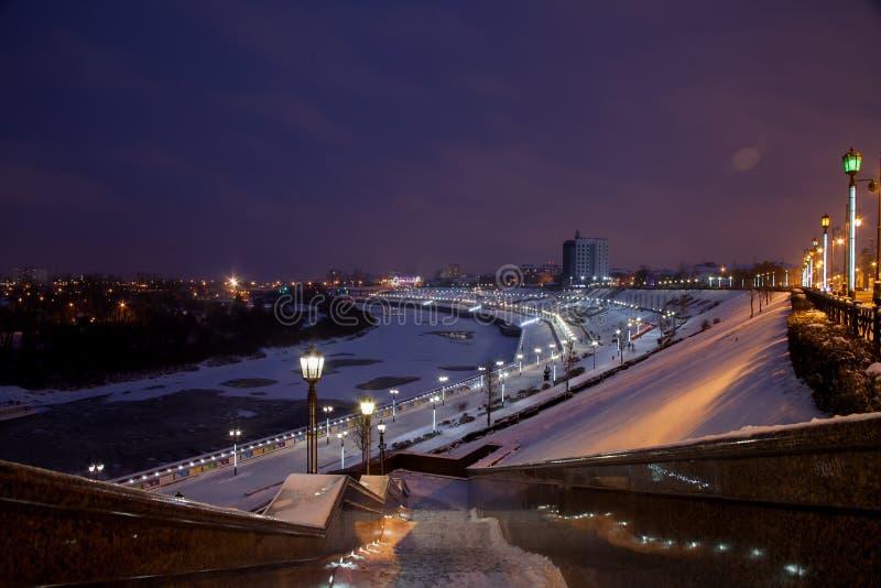 Download Tyumen, Russland - 5. November 2016: Winternachtlandschaft Von Redaktionelles Stockfotografie - Bild von leuchte, beleuchtung: 90226282