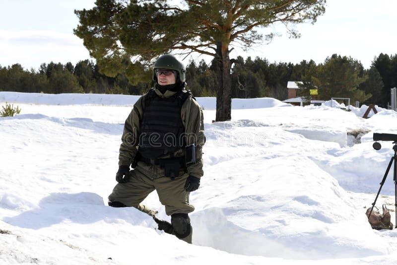 Tyumen Ryssland, mars 15, 2019, konkurrens av prickskyttar arkivfoto