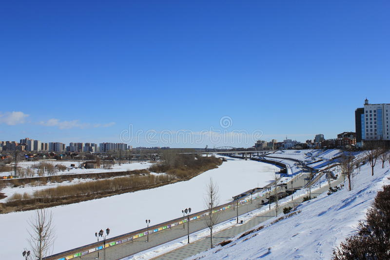 Tyumen Tura Riverside Distrito central de Tyumen foto de stock royalty free