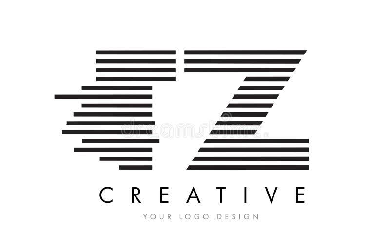 TZ T Z Zebra Letter Logo Design with Black and White Stripes royalty free illustration