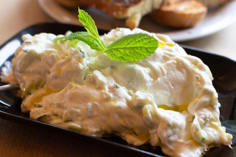 Tzatziki, cacik or tarator,  dip or sauce from Southeast Europe and Middle East made of salted strained yogurt mixed with. Cucumbers, garlic, salt, olive oil royalty free stock photography