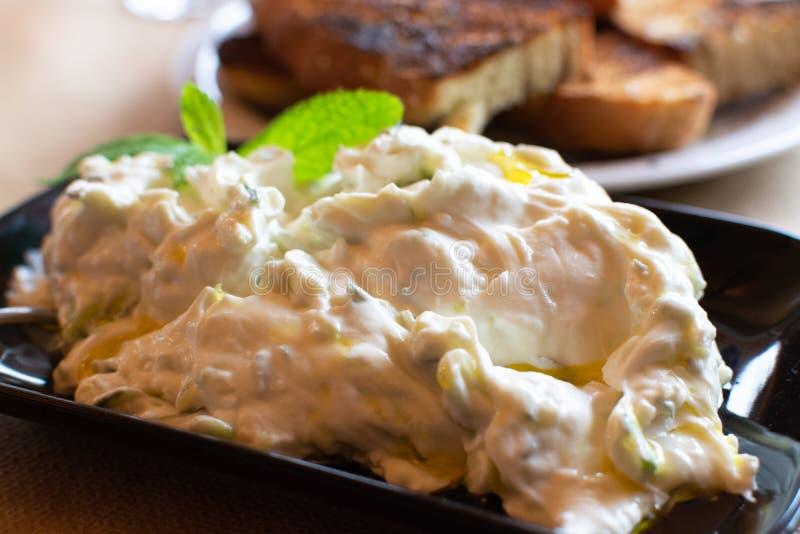 Tzatziki, cacik of tarator, onderdompeling of saus van Zuidoosteneuropa en Midden-Oosten van gezouten gespannen die yoghurt wordt stock fotografie